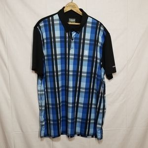 Izod blue plaid golf polo xl